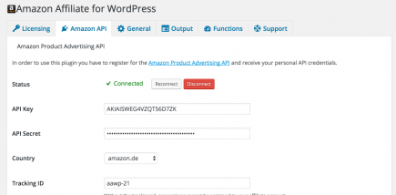 AAWP - Amazon Affiliate WordPress Plugin - Settings - Amazon API