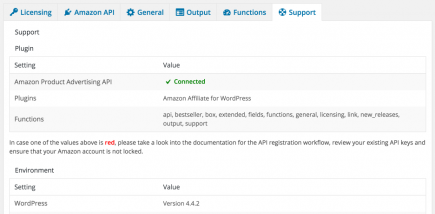 AAWP - Amazon Affiliate WordPress Plugin - Settings - Support