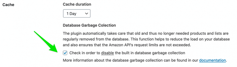 AAWP Settings - Database Garbage Collection