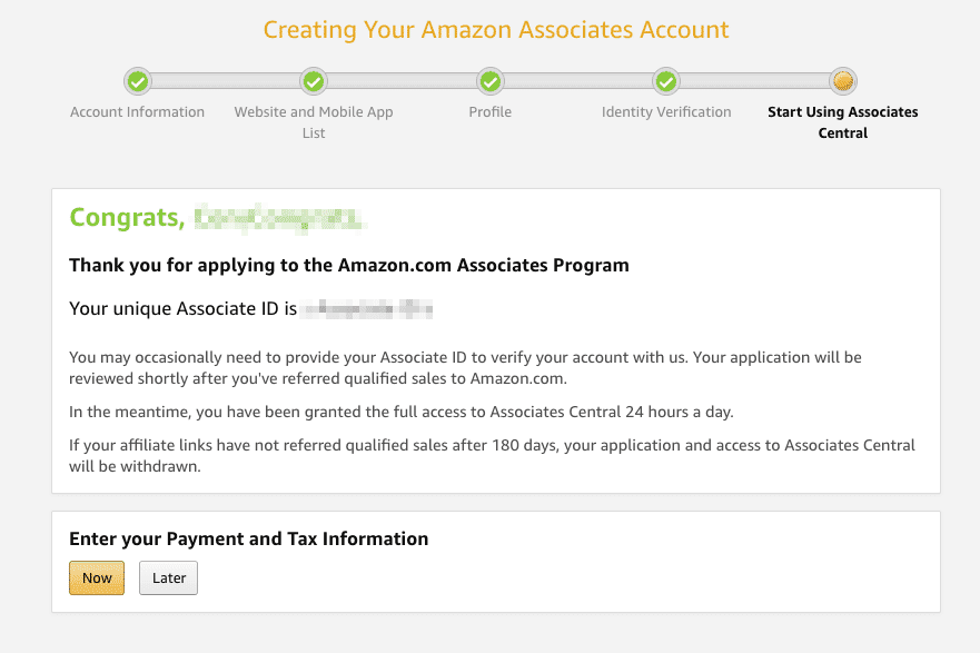 Become an Amazon Affiliate Signup Complete