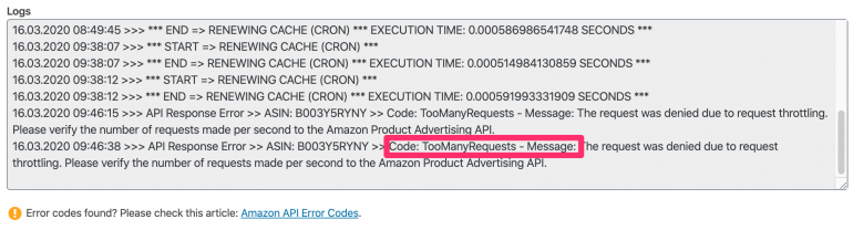 Amazon API Log